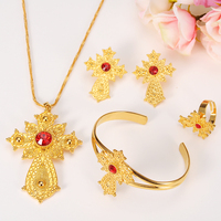 Ethiopian 24K Gold Color Cross Africa Indian Bridal Jewelry Set Trendy Women Crystal Ring Earrings Bracelet