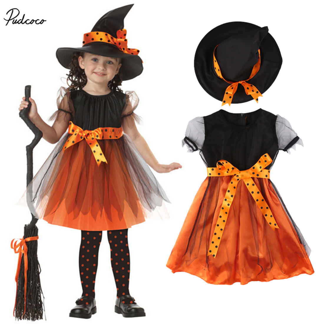 все цены на Witch Cosplay Clothing Toddler Girls Halloween Fancy Short Sleeve Dress Party Costume Outfit Patchwork Bow Tie Clothes HAT Set