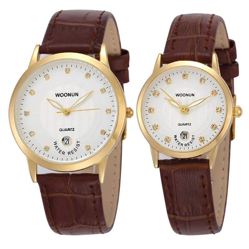 WOONUN Top Brand Luxury Pair Couple Watches For Lovers Leather Strap Quartz-watches Men Women Fashion Rhinestone Diamond Watch