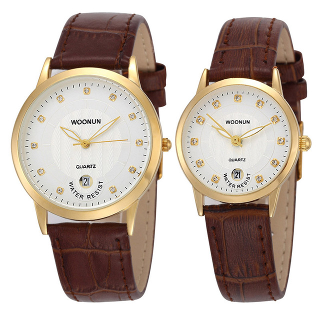 WOONUN Top Brand Luxury Pair Couple Watches For Lovers Leather Strap Quartz-watc