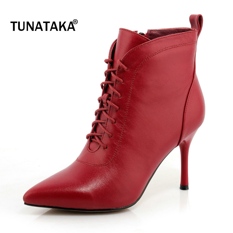Woman Genuine Leather Pointed Toe Thin High Heel Cross Tied Ankle Boots Fashion Side Zipper Dress Autumn Winter Boots Black autumn winter cool fashion black leather and suede spike heel short boots charming woman pointed toe ankle boots concise design
