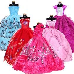 Белый нарядные свадебные Принцесса платье для куклы Барби цветочный Одежда для кукол Костюмы нескольких слоев куклы аксессуары