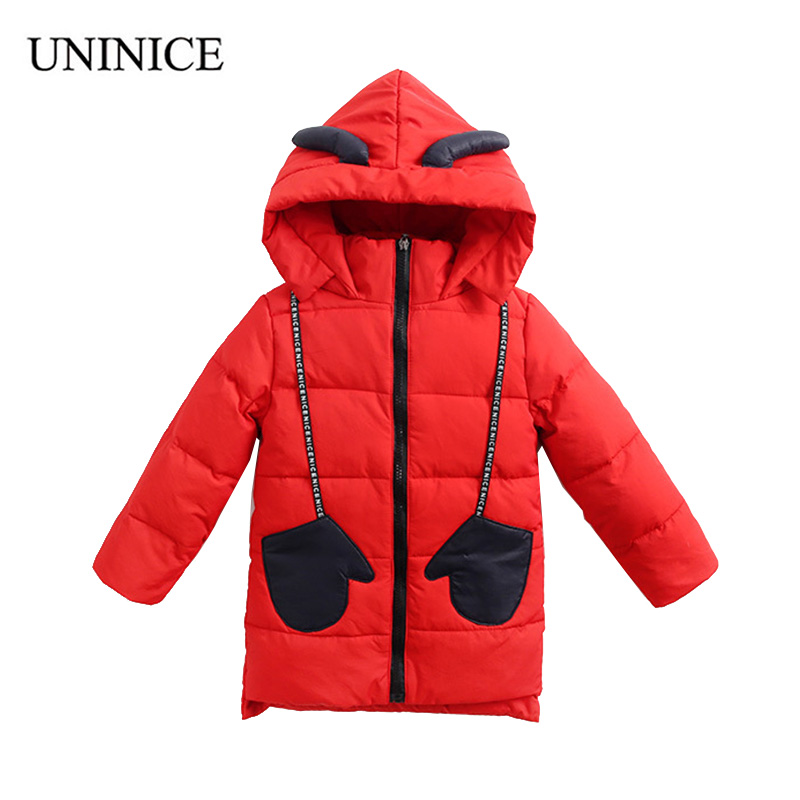 UNINICE Hooded Cotton Down Jackets Winter Print Dog Boys Coat Kids Outwear Parka Thick Warm Kids Autumn Children Girls high quality new winter jacket parka women winter coat women warm outwear thick cotton padded short jackets coat plus size 5l41