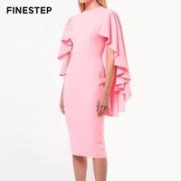 Брендовое платье 2019 ярко розовые платья для женщин с оборками и разрезом платье с рукавами «летучая мышь» с круглым вырезом сексуальное пла