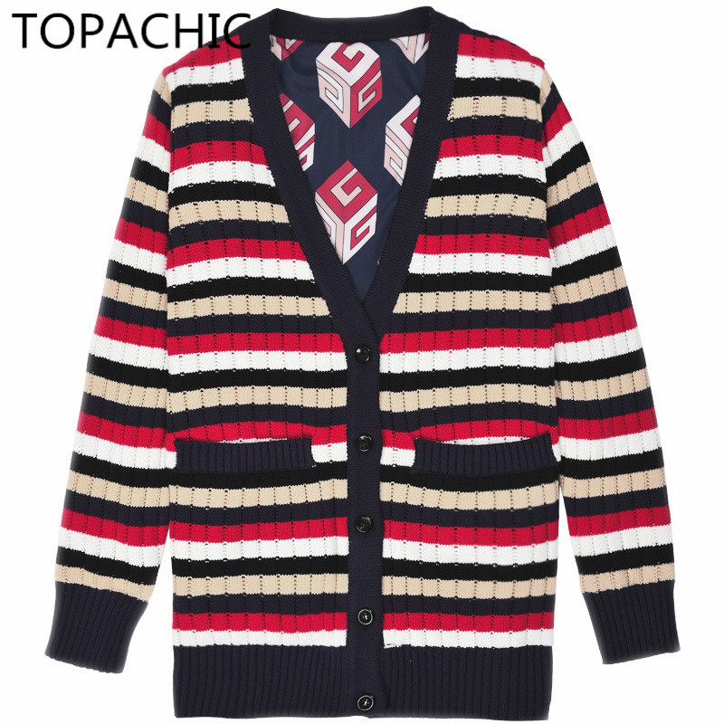 High Quality Luxury Brand V-neck Knitting Cardigan Sweater Women Reversible Female Clothing