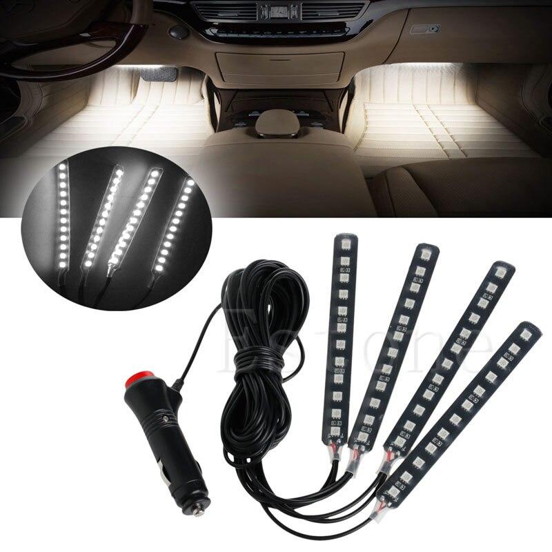 White 4x12LED Car SUV Interior Light Atmosphere Decorative Light Neon Lamp Strip