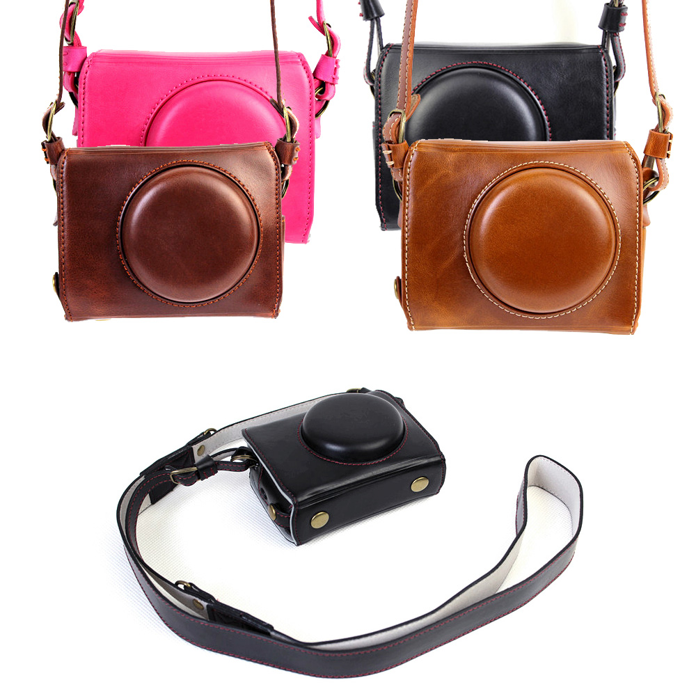 New Deluxe Edition Leather Case Camera Case Bag Cover for Canon G7x mark II/G7x markII Camera Cover + Leather Camera Strap