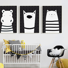 Bianche Wall Lovely Black and White Cartoon Animal Canvas Painting Art Print Poster Picture Children Bedroom Decor