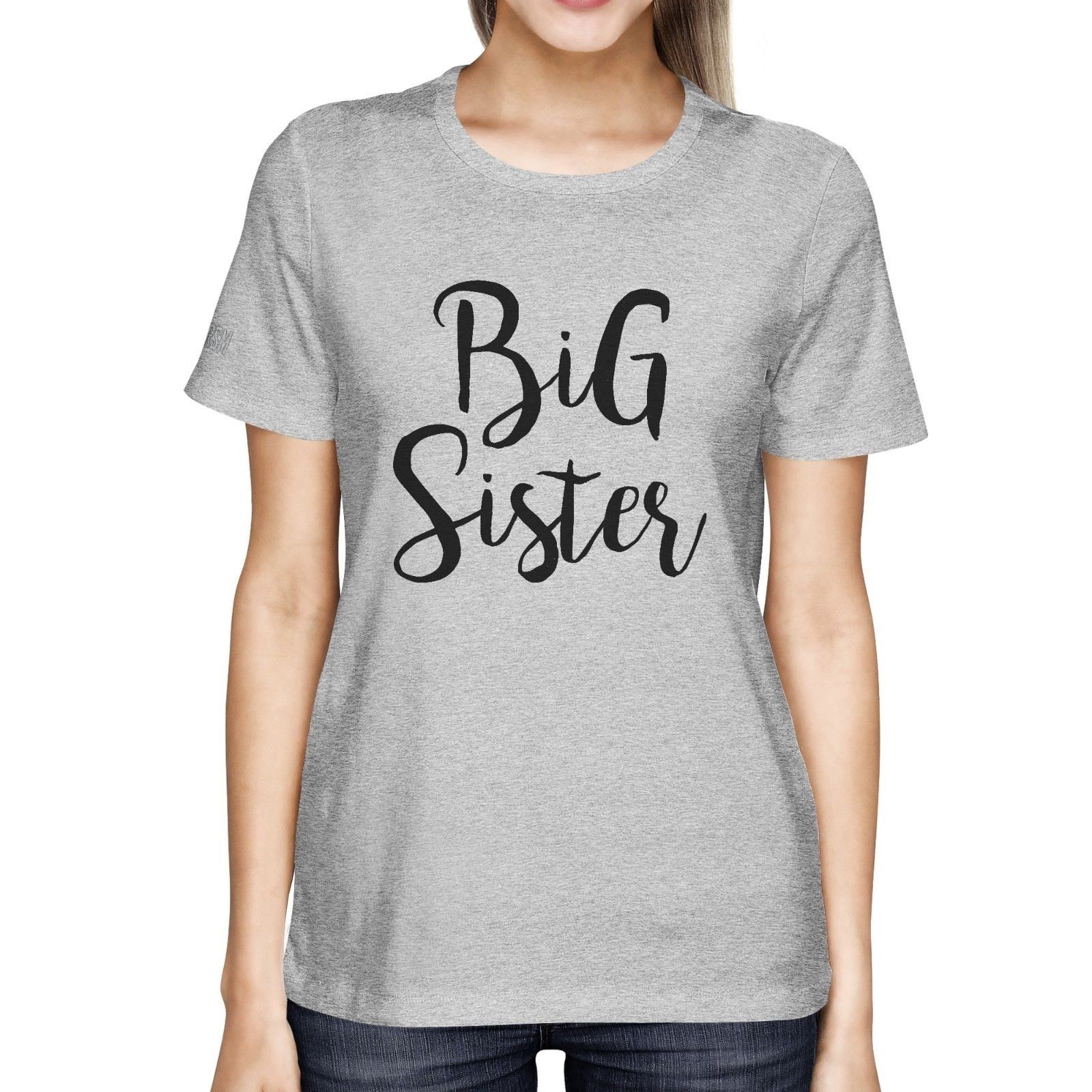 Big Middle Little Sister Matching T-shirts Gifts for Sis Grey Basic Style Tee Custom Printed Tops Hot Sales Tee T Shirts