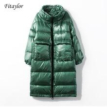 Fitaylor 新冬のジャケットの女性ダウンコート女性厚いホワイトダックダウンジャケットレディースロングコート暖かい服