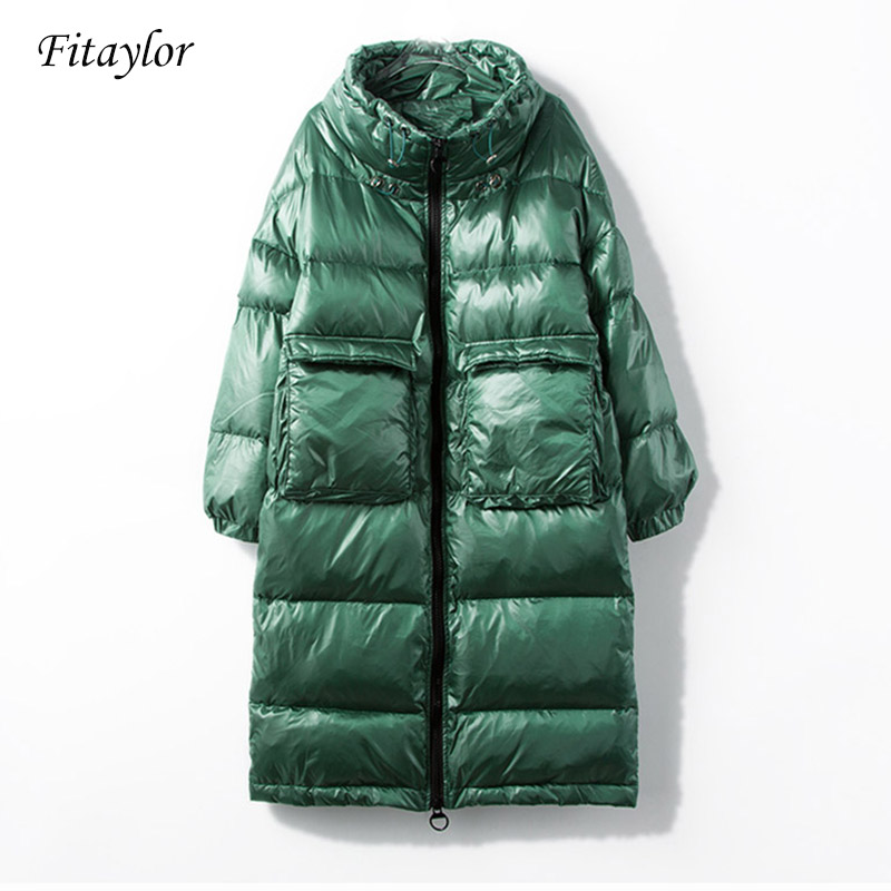 Fitaylor New Winter Jacket Women Down Coat Female Thick White Duck Down Jacket Womens Long Coats Warm Clothes