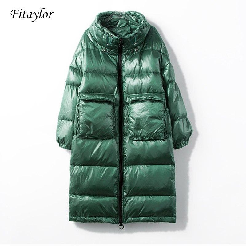 Fitaylor nowa kurtka zimowa kobiety płaszcz puchowy kobiet gruba biała kaczka dół kurtki damskie długie płaszcze ciepłe ubrania w Płaszcze puchowe od Odzież damska na  Grupa 1
