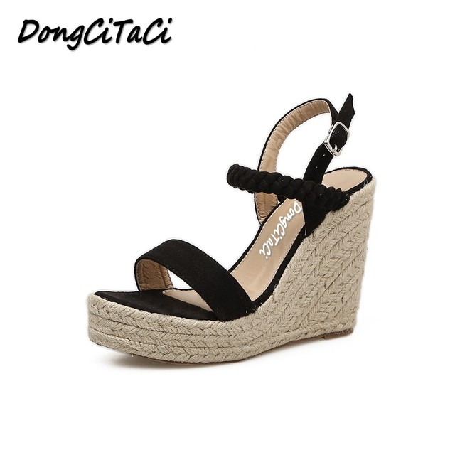 6ed97881c5c DongCiTaCi Women Gladiator Wedges Sandals Shoes Woman High Heels Shoes  Straw Hemp Rope Platforms Thick Bottom Bohemia Sandals