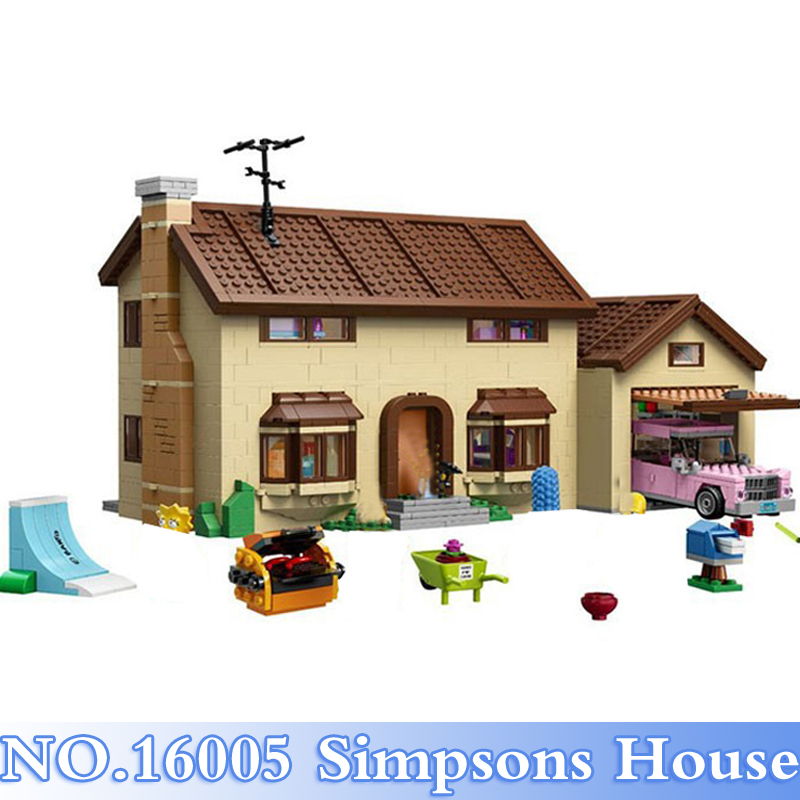 Lepin 16005 Simpsons 2575Pcs Simpsons House Figures Building Blocks Bricks Set Toy For Children Model Kits Compatible 71006 Gift lepin movie figures 16005 2575pcs the simpsons house model building kits blocks bricks educational kid toy compatible with 71006