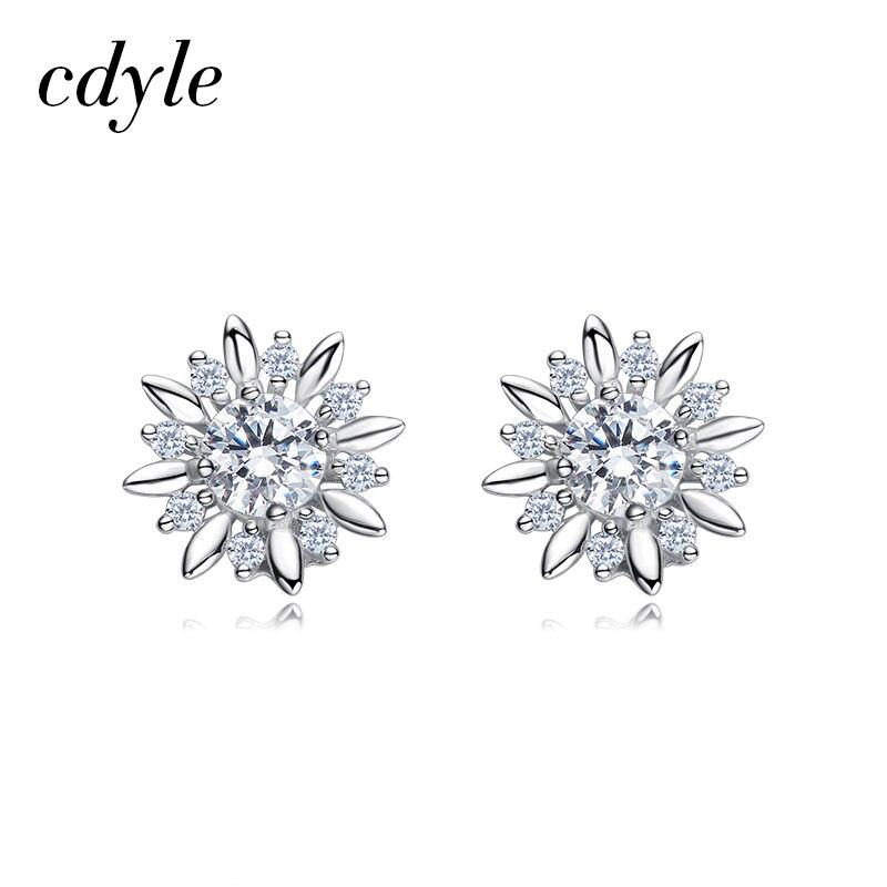 Cdyle Crystals from Swarovski Stud Earrings Women Earrings Fashion Flower Jewelry Bijoux Australian Rhinestone Paved Silver pair of chic faux crystals rhinestone stud earrings for women