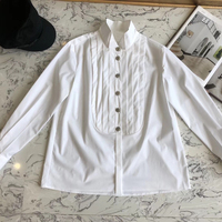 Dressnow women white blouses summer 2018 long sleeve blouse fashion stand collar blouses