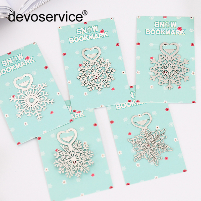 5Pcs/Lot Brief Style Snowflake Metal Paper Clip Bookmark Stationery School Office Supplies Creative Book Mark Promotional Gift