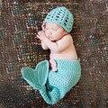 Lindo Azul de la Sirena Diseño de Ganchillo Bebé Sombrero y Cocoon Set Bebé Animal Del Ganchillo Foto Fotografía Accesorios H045