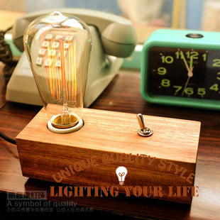 vintage retro wooden base dimmer table lamp desk light edison bulbs dask lighting for bedroom. Black Bedroom Furniture Sets. Home Design Ideas