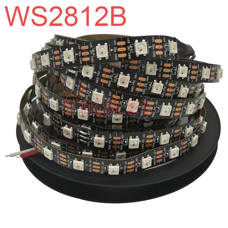 5m DC5V ws2812b WS2812 LED Strip Smart RGB 5050 Full color Pixel IC Ditigal individually Addressable waterproof tape light
