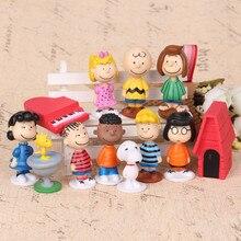 12pcs Chinese ceramics Sport Snoopie Cartoon Dolls 4-6 cm Snoopying cartoon dog action figures toy for kids minifigures