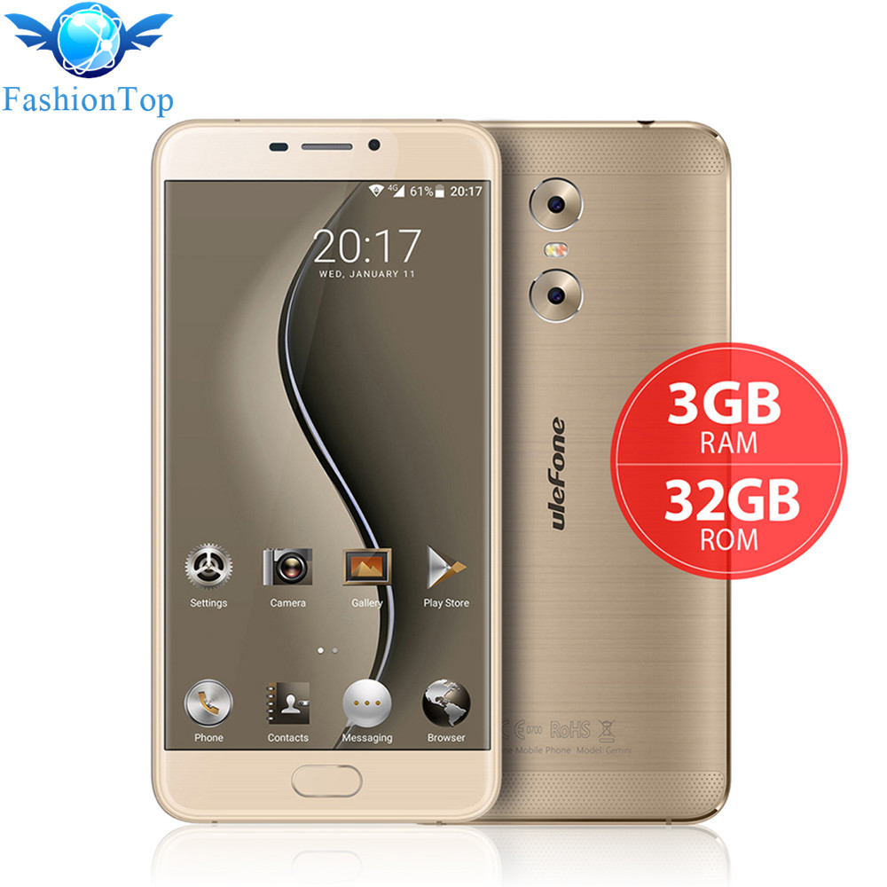 Original Ulefone Gemini 5.5'' Mobile Phone Android 6.0 MT6737 Quad Core 3GB RAM 32GB ROM Smartphone 4G LTE Dual Back Camera GPS