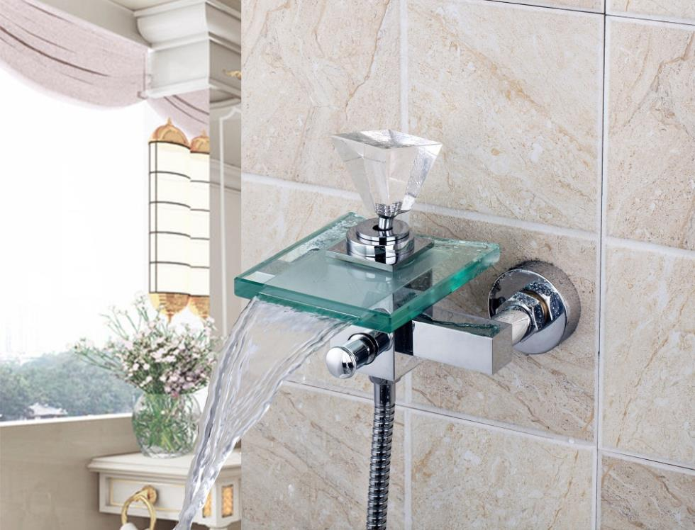 8008S/2 Crystal Diamond Handle Waterfall Glass Spout Wall Mounted Bathroom Bath Handheld Shower Tap Mixer Faucet free shipping polished chrome finish new wall mounted waterfall bathroom bathtub handheld shower tap mixer faucet yt 5333