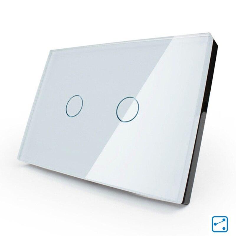 Interruptor del tacto panel de cristal blanco cristal ee. uu./au estándar 110-25