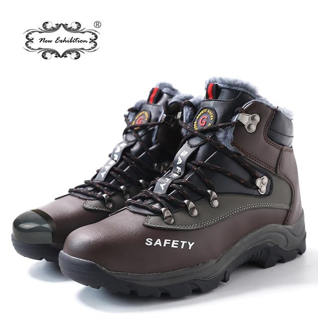 Yeni sergi Erkekler güvenlik Botları Peluş Sıcak Kış çelik burun Anti patinaj iş ayakkabısı Siyah Kahverengi PU yarım çizmeler Boyutu 35-48