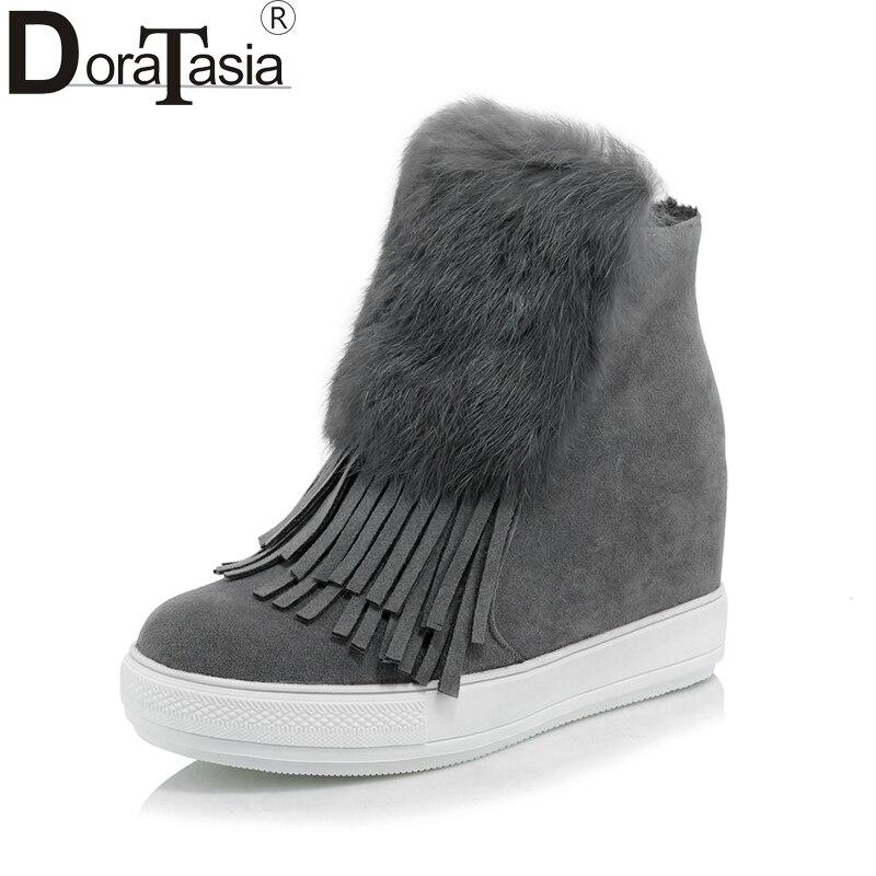 Doratasia حجم كبير 32-45 النساء الكاحل هامش جولة تو مع خفية إسفين عالية الكعب منصة أحذية امرأة الشتاء الفراء الأحذية