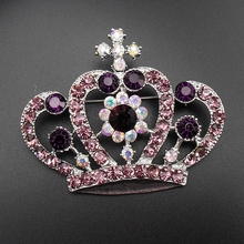 1 Piece Stunning New Cute Rhodium Plated Purple Rhinestone Crystal Crown Brooches Pin, Item No.:BH7520