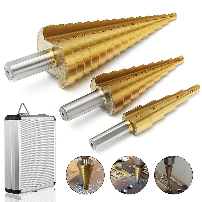 3 piezas 4-12/20/32mm gran HSS acero paso cono flauta espiral broca de titanio poco agujero cortador afilado con caja de aluminio
