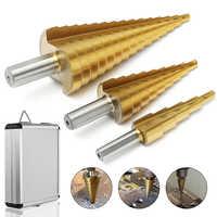 3Pcs 4-12/20/32mm Large HSS Steel Step Cone Spiral Flute Drill Bit Set Titanium Bit Hole Cutter Sharpening With Aluminum Box