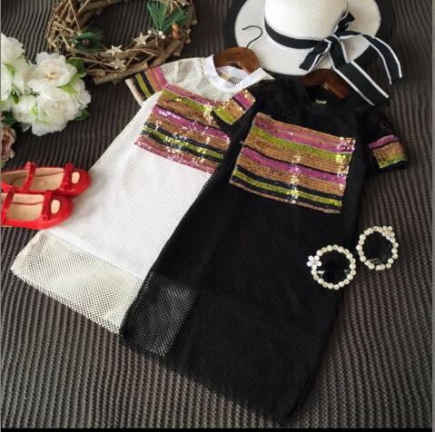 Fashion summer girls dress 2 pcs causal short sleeve sport dress with Sequin children and kids summer clohing