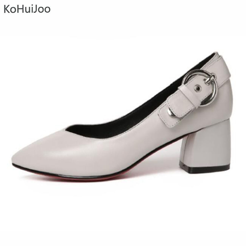 KoHuiJoo Spring Genuine Leather Pointed Toe Pumps for Women Office Ladies Shoes Buckle Fashion High Quality Footwear Female 2018 new 2017 spring summer women shoes pointed toe high quality brand fashion womens flats ladies plus size 41 sweet flock t179
