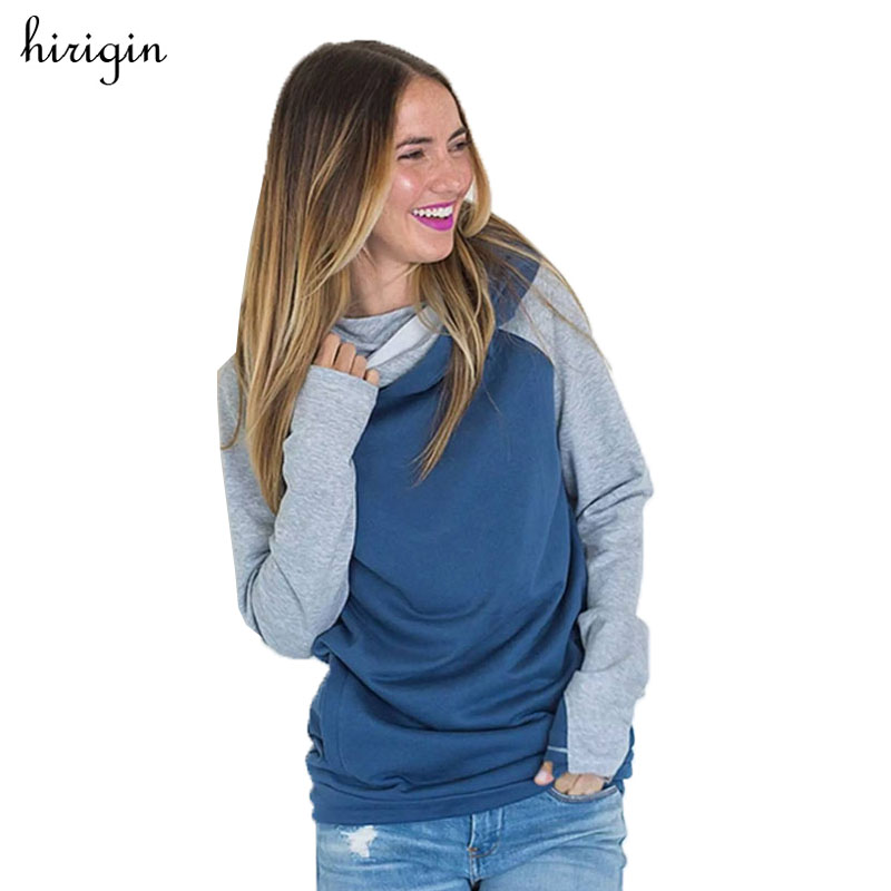 Women Casual Long Sleeve Hoody Sweatshirt Casual Patchwork Hooded Coat Pullover Casual Female Tracksuits