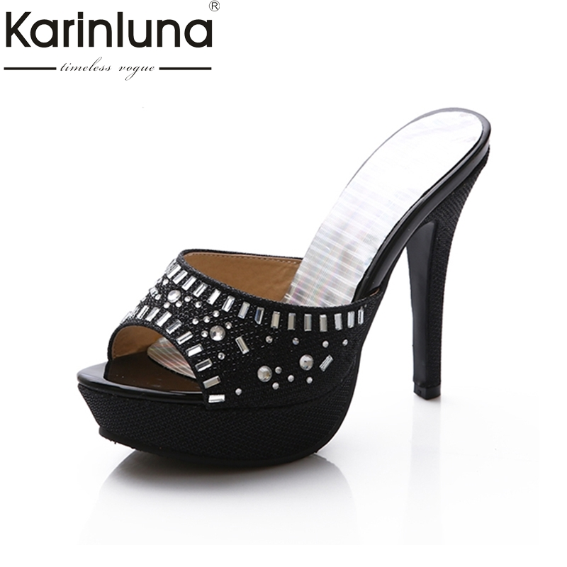 KARINLUNA Size 33-39 Women Rhinestone Sandals High Heels Peep Toe Platform Summer Woman Shoes Beach Party Wedding color my life stainless steel door handle cover sticker for opel zafira astra insignia vauxhall mokka astra j cruze malibu trax