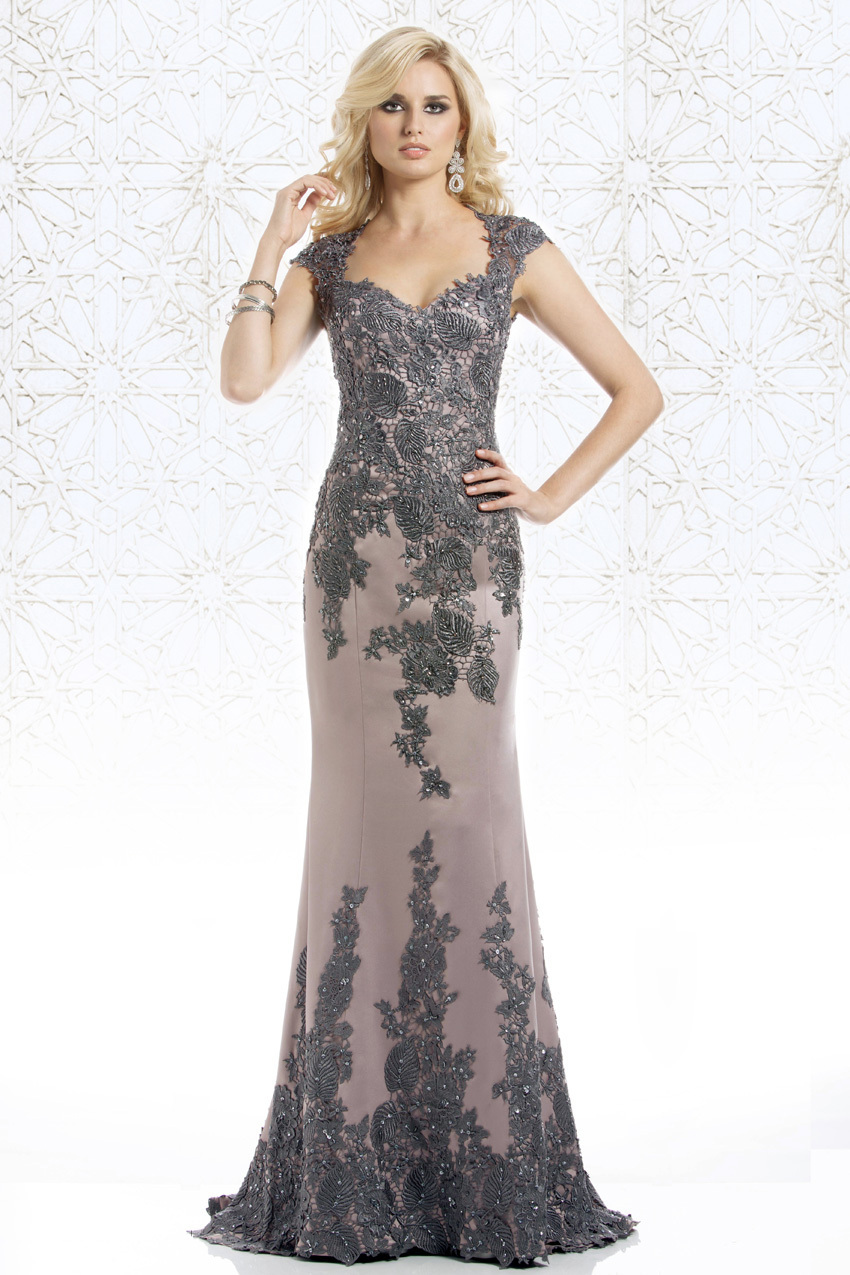 Elegant Grey Long Evening gown With Appliques Beaded 2018 Cap Sleeve Sheath  Floor Length Prom mother a9788244901e