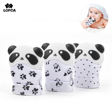 Silicone Teether 1pc Baby Pacifier Glove Teether Panda Animal Mitten Wrapper Sound Teething Chewable bead Newborn Toddler Infant