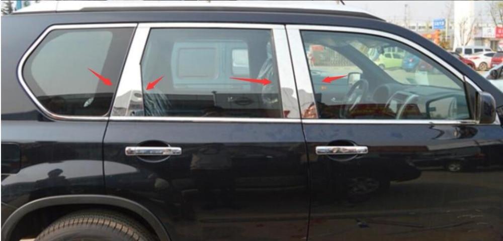 Stainless Steel car Window Middle Column Pillar Trim Fit For Nissan X-TRAIL t31 2008 2009 2010 2011 2012 2013 8pcs/set car auto accessories rear trunk trim tail door trim for subaru xv 2009 2010 2011 2012 2013 2014 abs chrome 1pc per set
