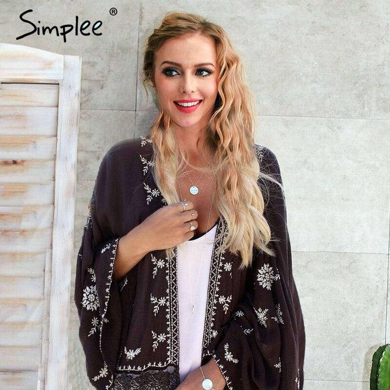 Simplee Verano boho kimoo foral imprimir blusa de la gasa de Las Mujeres suelta