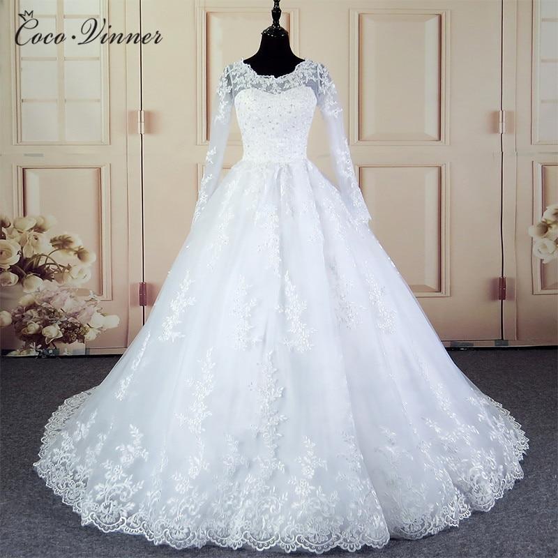 Arab Patten Dubai Elegant Vintage Lace White Ball Gown Wedding Dress With Sleeves Robe De Mariage Princess Bridal Gown W0030