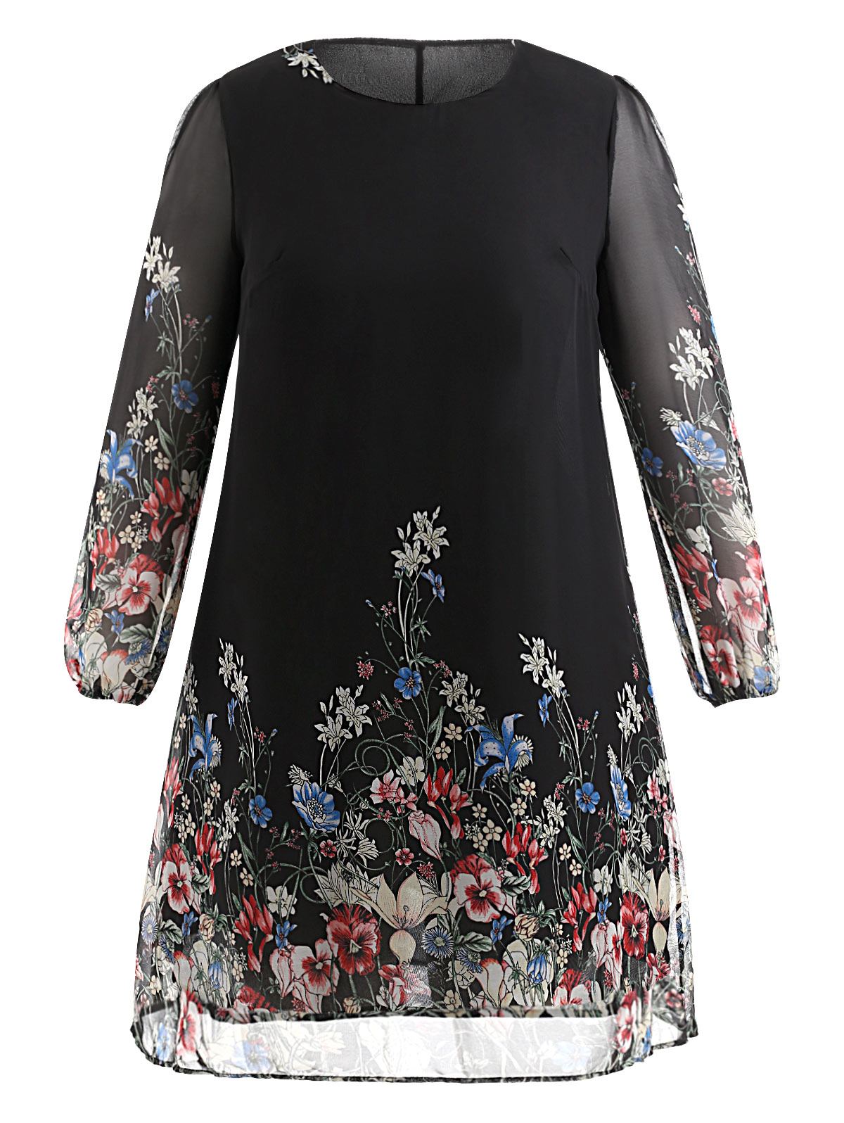 4ad89f2fb09 Dresses Length: Mini Neckline: Round Collar Sleeve Length: Long Sleeves  Pattern Type: Print With Belt: No Season: Spring,Fall Weight: 0.2430kg