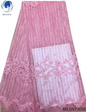 Beautifical french laces fabrics african tulle lace with beads new design for women 5yards ML1N730