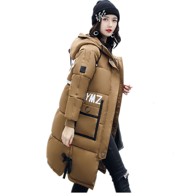 Letter Print Thick Winter Hooded Warm Large Size Coat Cotton Padded Winter Coat Women Casual Fashion Parka Outerwear TT3309 plus size letter print hooded sweatshirt dress
