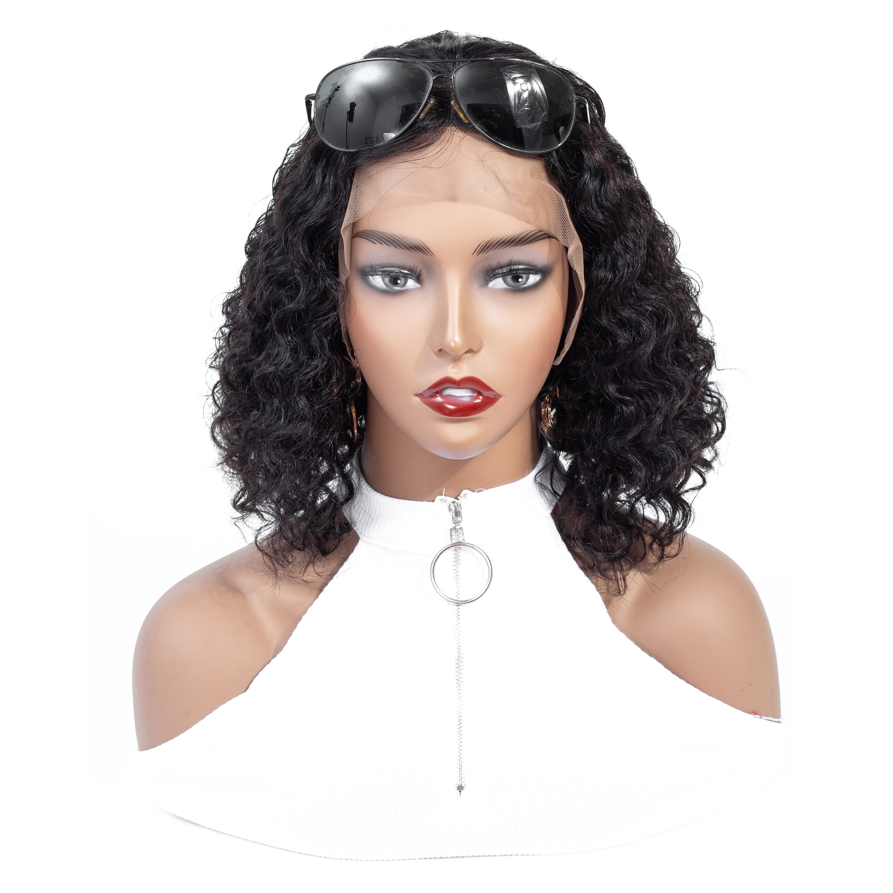 CGG Kinky Curly Bob Wigs Lace Front Human Hair Wigs For Black Women Pre Plucked Brazilian Remy Short Bob Wigs With Baby Hair(China)