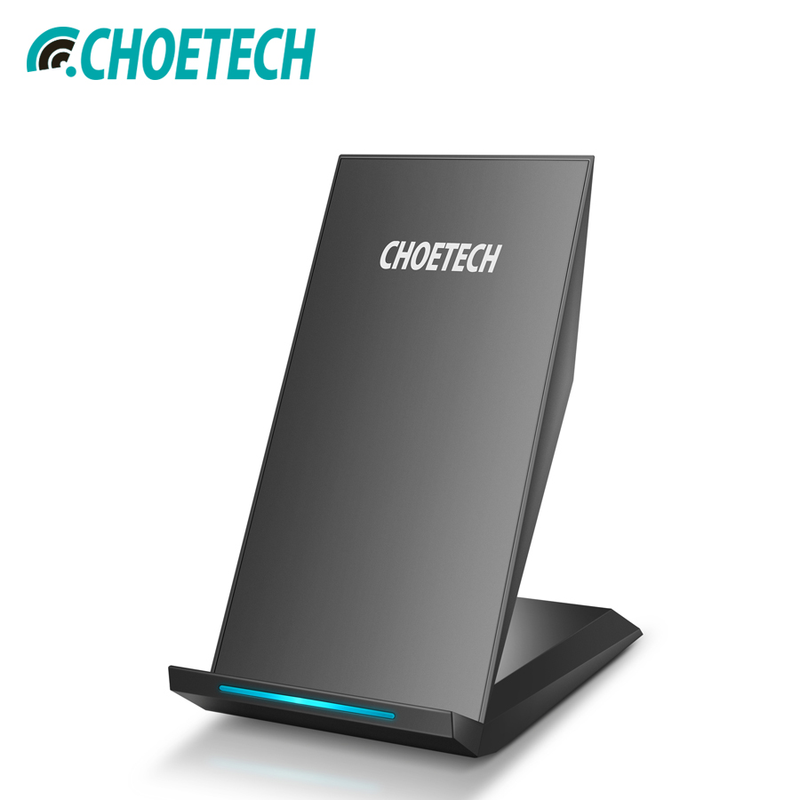 CHOETECH Qi Wireless Charger Stand 10W 2 Coils Fast Charging For Iphone Xr Xs Max 8 Samsung Galaxy S8 Plus S7 Portable Charging Зарядное устройство