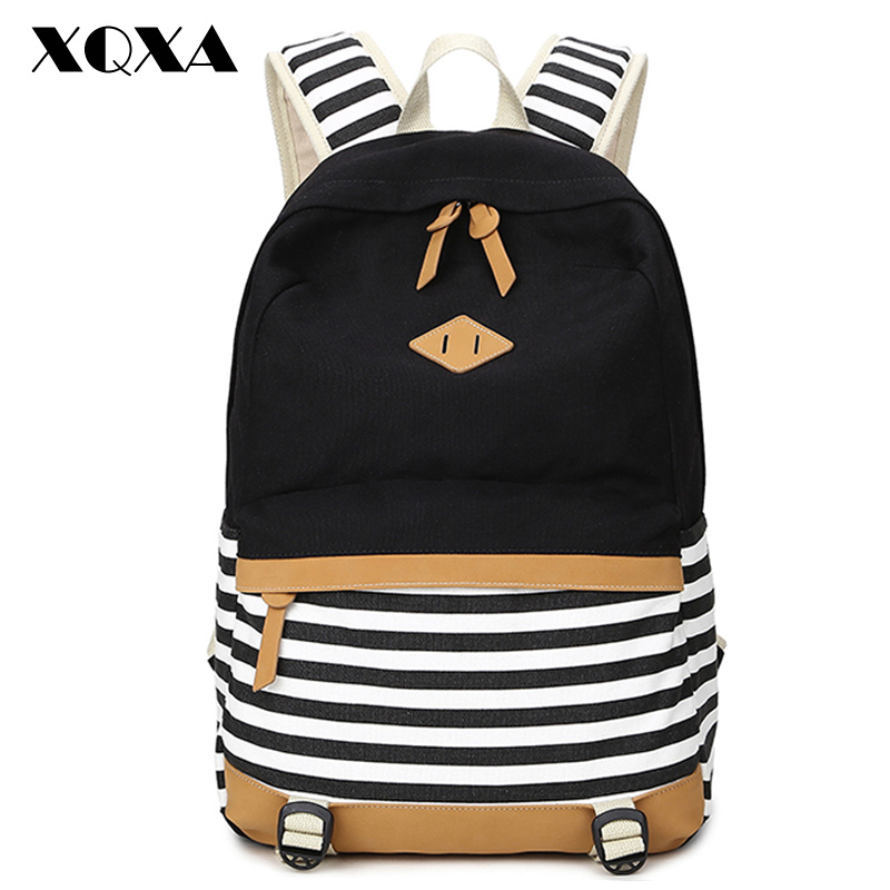 XQXA preppy school bags font b backpack b font for girls teenagers cute canvas striped printing