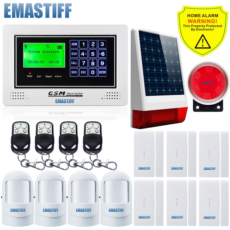 GSM App SIM security alarm system Wireless solar outdoor light siren Gsm SMS alarm system simple menu display for Home Security high quality solar spot alarm system kit 433mhz wireless outdoor siren with bright flash to make powerful warning
