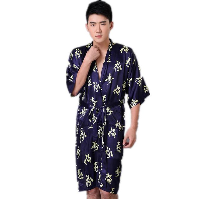Nova Chegada Azul Marinho homens Chineses Rayon Robe Roupa Kimono Yukata vestido de Verão Sleepwear Ocasional S M L XL XXL XXXL Z001